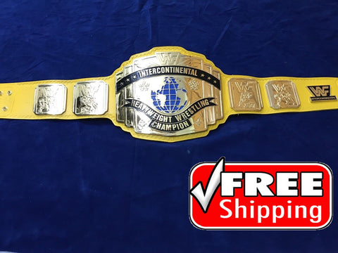 WWF INTERCONTINENTAL YELLOW 24K GOLD Zinc Championship Belt - Zees Belts