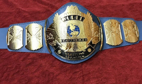 WWF WINGED EAGLE BLUE 24K GOLD Zinc Championship Belt - Zees Belts