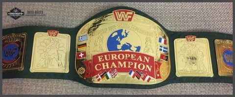 WWF EUROPEAN BLOCK LOGO Brass Championship Belt - Zees Belts