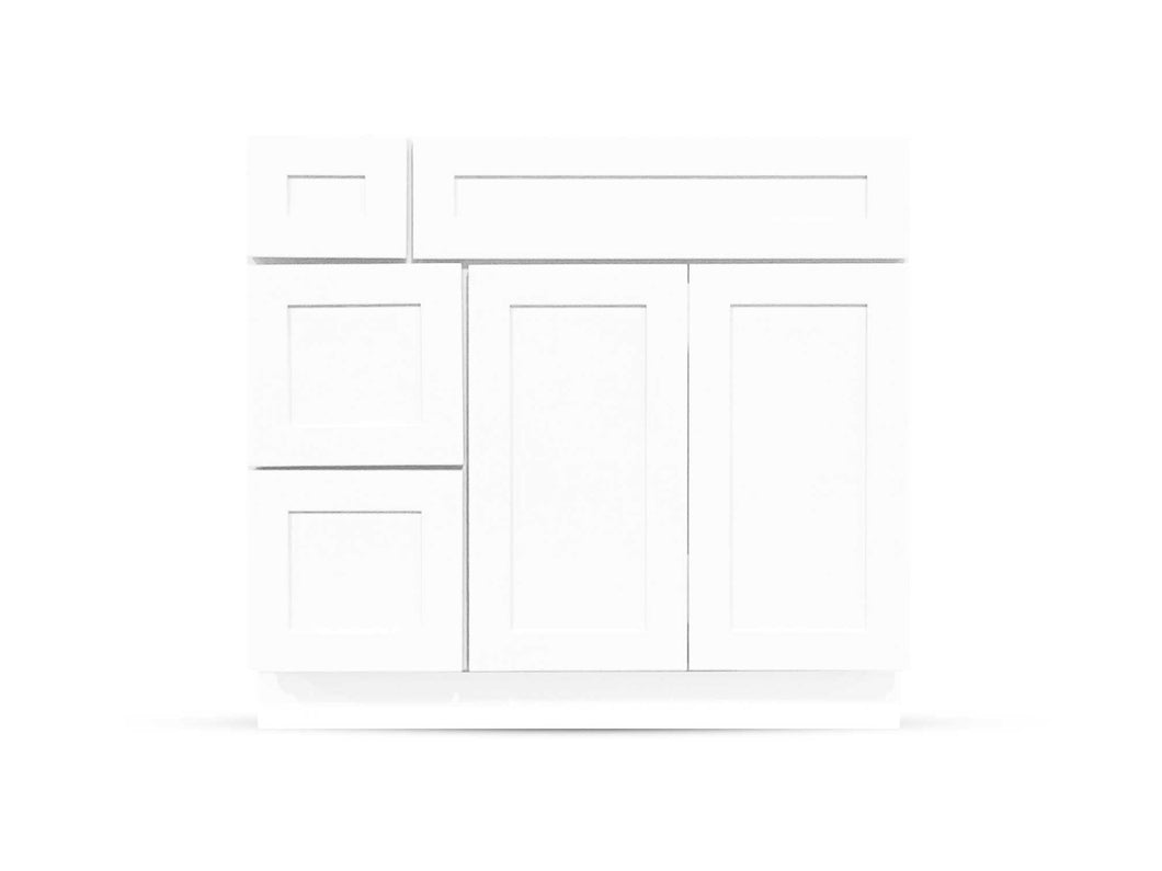 36 Bright White Shaker Drawers Right