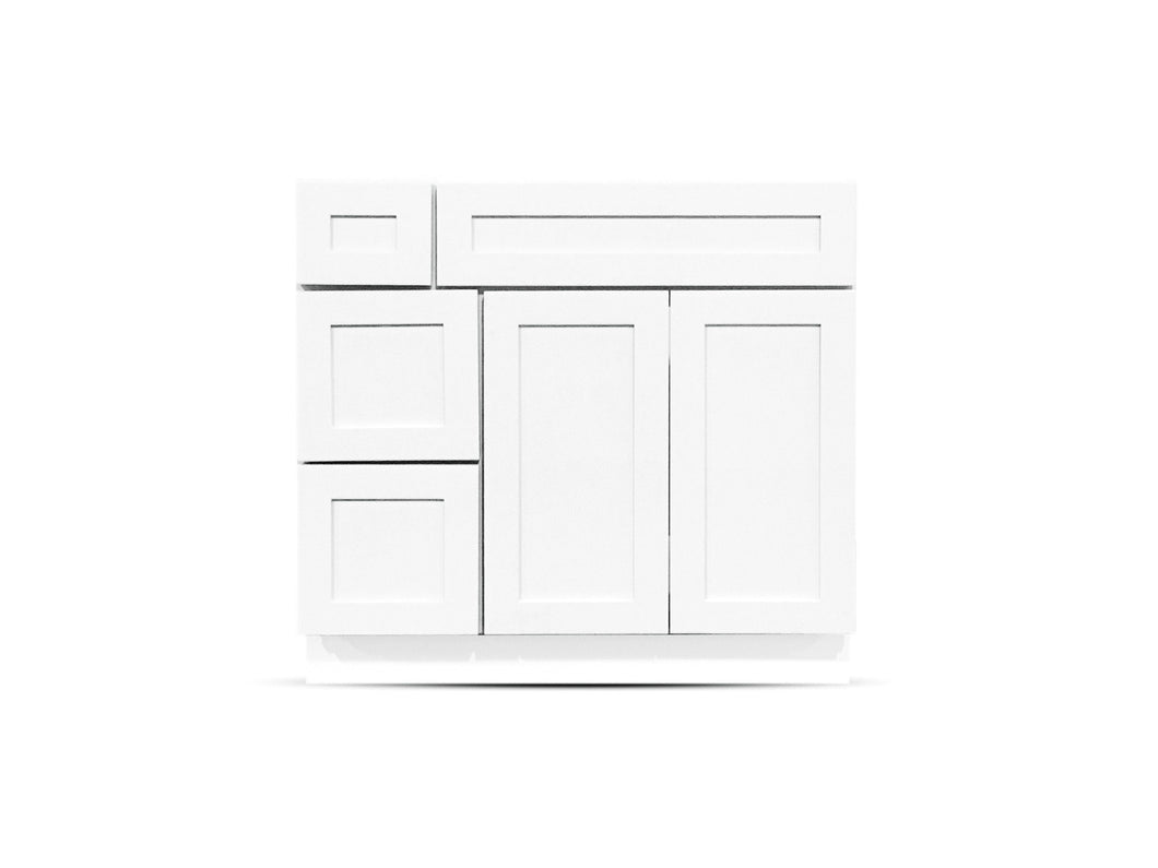 36 Colonial Shaker White Drawers Left
