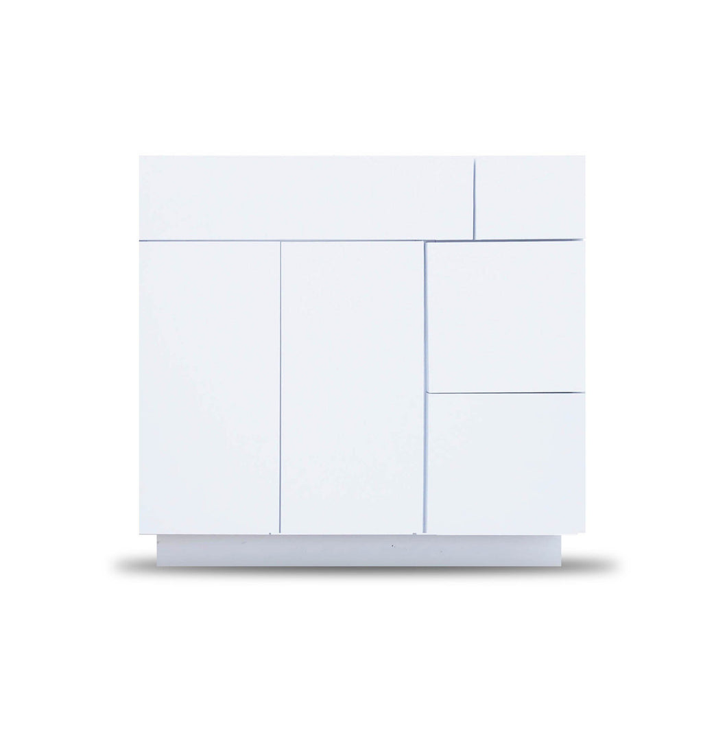 36 Inch Bathroom Cabinet Vanity Blanco Polished Left  Drawers