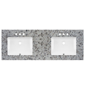 "61"" Wide X 22"" Deep Prefab Vanity Top Barala White Double Sink 2cm 5708"