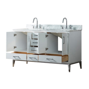 60 Inch Wide Double Sink 1831 White