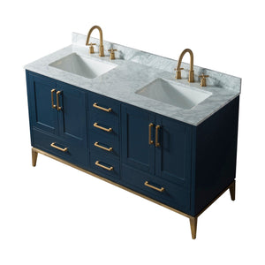 72 Inch Wide Double Sink 1831 Blue