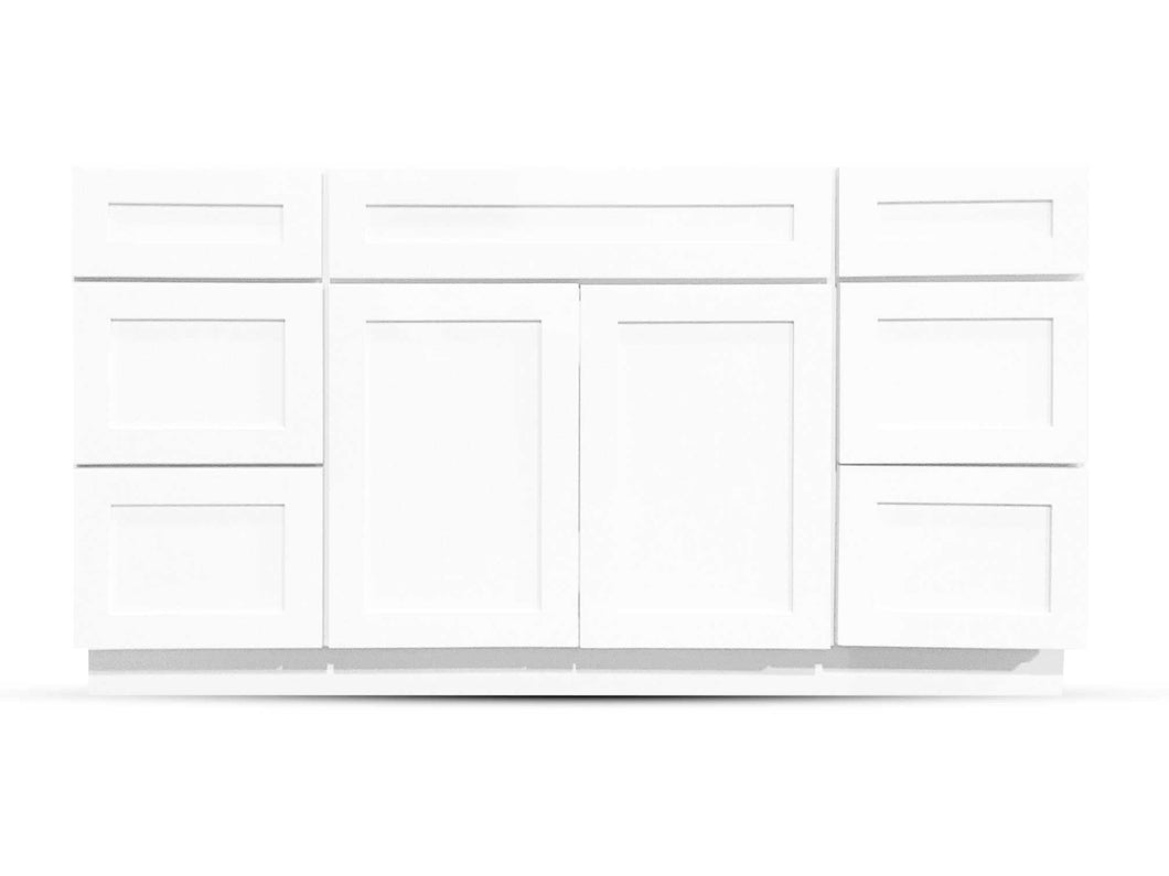 60 Bright White Shaker Drawers Left/Right