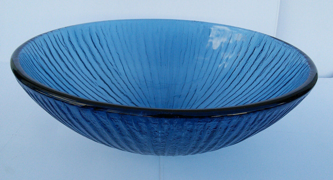 Round Tempered Glass Vessel Sink (Blue) Raindrop