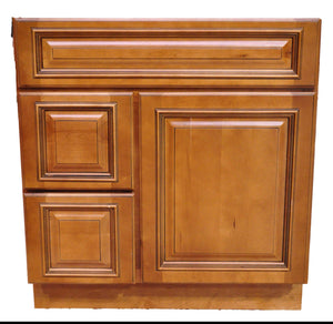 30 Inch Bathroom Cabinet Vanity Heritage Caramel Left Drawers