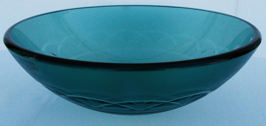 Round Tempered Artistic Glass Vessel Sink -