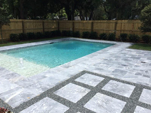 French Pattern Travertine Silver Sky