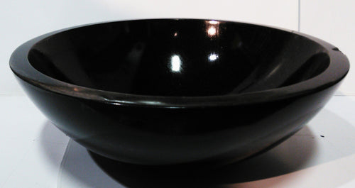 Midnight Black Round Granite Vessel Sink