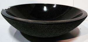 Midnight Black Granite Vessel Sink with Natural Outside Surface