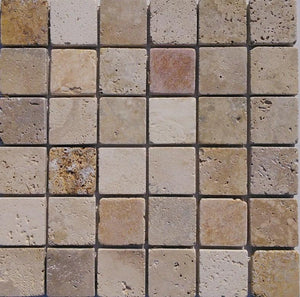 "2"" x 2"" Mix Tumbled Travertine Mosaic Tile - MO1017"