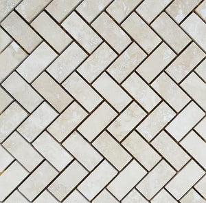 "1"" x 2"" Diagonal Light Travertine Mosaic Tile - MO1018"