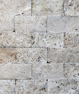 "2"" x 4"" Split-Face Noce Travertine Mosaic Tile - MO1030"