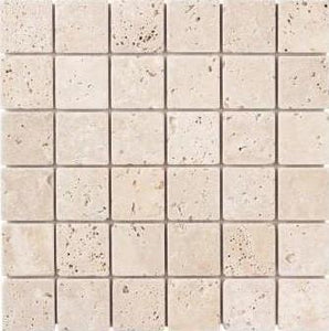 "2"" x 2"" Light Honed Mosaic Travertine Tile - MO1042"