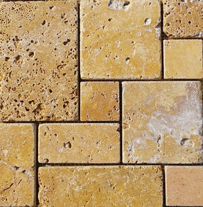 "12"" x 12"" French Pattern Gold Mosaic Travertine Tile - MO1048"