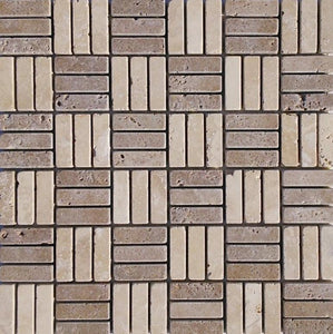 "2/3"" x 2"" Twin Light/ Noce Tumbled Mosaic Travertine Tile - MO1049"