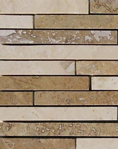 "17 5/8"" x 6 5/8"" Linear Light/ Noce Honed Mosaic Travertine Tile - MO1051"