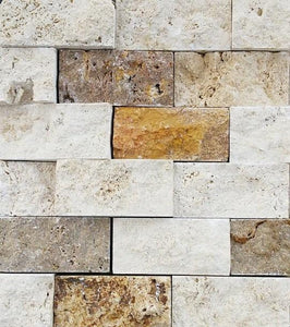 "2"" x 4"" Split-Face Mixed Travertine Mosaic Tile - MO1057"