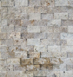 "1"" x 2"" Split-Face Noce Travertine Mosaic Tile - MO1060"