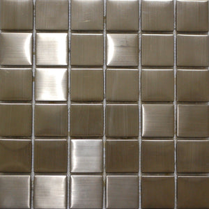 "2"" x 2"" Brushed Stainless Steel Mosaic Tile - MO1075"