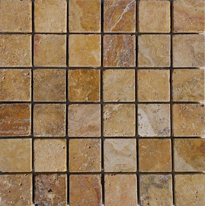 "2"" x 2"" Gold Tumbled Travertine Mosaic Tile - MO197"