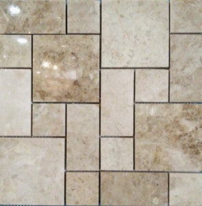 "12"" x 12"" French Pattern Cappuccino Marble Mosaic Tile - MO199"