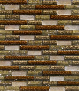 "12"" x 12"" Brown Glass w/ Stone Mix Mosaic Tile - MO236-98"