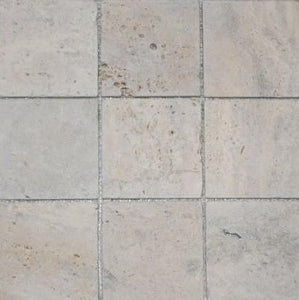 "4"" x 4"" Beige Tumbled Travertine Mosaic Tile - MO621"