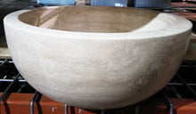 Load image into Gallery viewer, Round, Polished Travertine Vessel Sink - Ivory