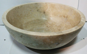 Round, Polished Travertine Vessel Sink - Light Beige