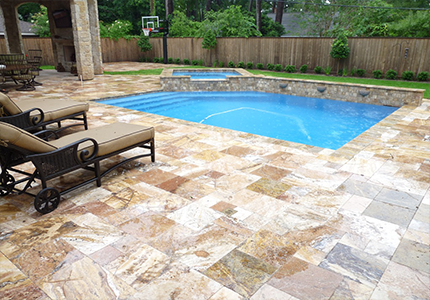 French Pattern Travertine Paver Scabos