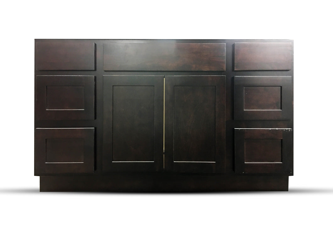 60 Inch Bathroom Cabinet Vanity Shaker Espresso Right Drawers