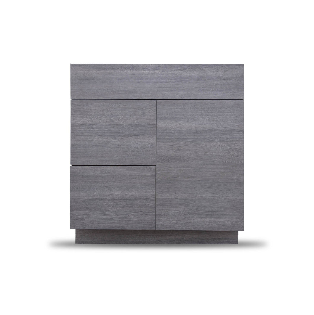 30 Inch Bathroom Cabinet Vanity Strand Grey Right  Drawers