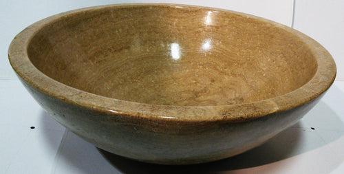 Wood Look Marble Round Vessel Sink