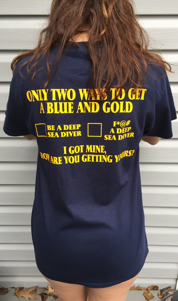 Back of blue and gold two ways t-shirt