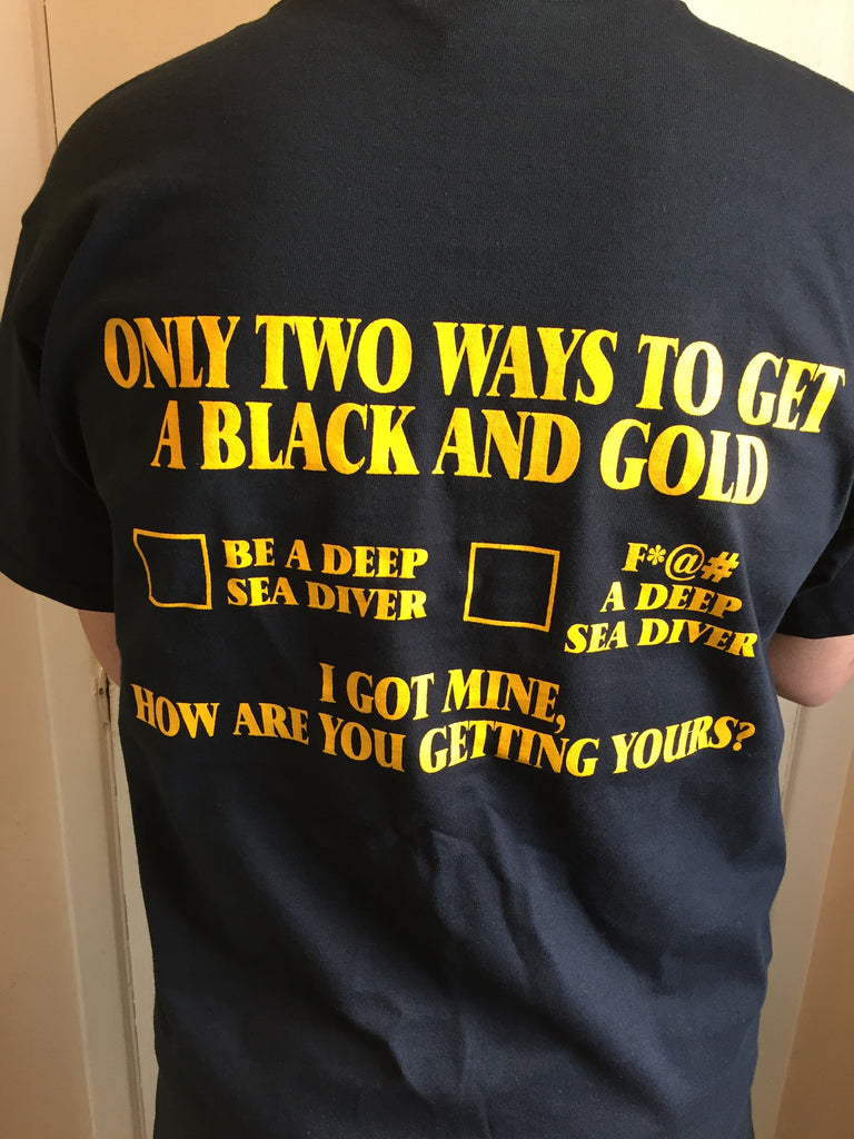 Back of black and gold two ways t-shirt