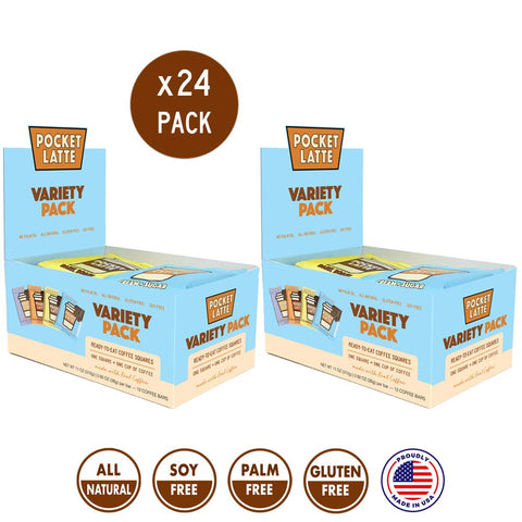 Pocket Latte, VARIETY 24 PACK (6 of each flavor). Strong Coffee Flavor. One Bar = One Coffee. All-Natural Caffeine Snack, gluten-free and soy-free ingredients. Coffee Chocolate.