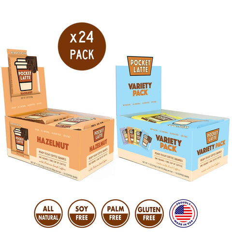 "Pocket Latte, 24 PACK (Variety pack PLUS ""Hazelnut"" pack). Strong Coffee Flavor. One Bar = One Coffee. All-Natural Caffeine Snack, gluten-free and soy-free ingredients."