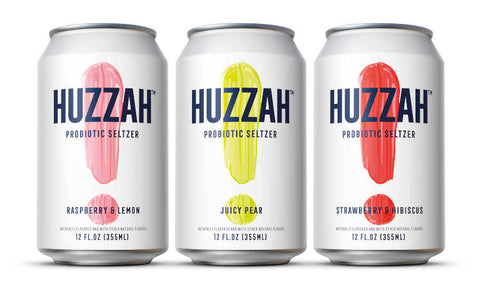 HUZZAH Probiotic Seltzer, Healthy Sparkling Water, Low Calorie & Low Sugar, Delicious Bubbly Water, Strawberry & Hibiscus, 12 Fl. Oz Cans