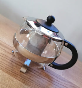Cafe Ole Glass & Chrome Infuser Teapot