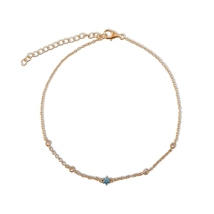 Turquoise Flower Anklet