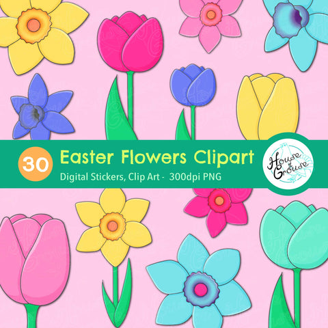 Easter Flowers Clip Art Set