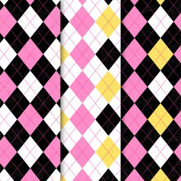 Pink & Yellow Argyle Pattern Set