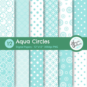 Aqua Circles Pattern Set