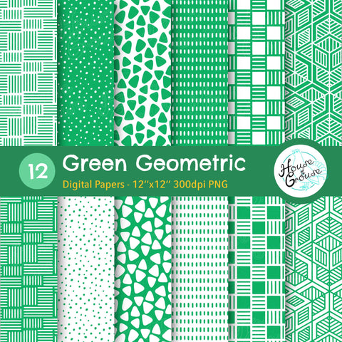 Green Geometric Pattern Set