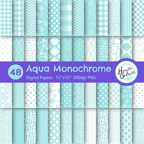 Aqua Monochrome Pattern Bundle