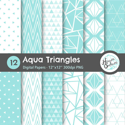 Aqua Triangles Pattern Set