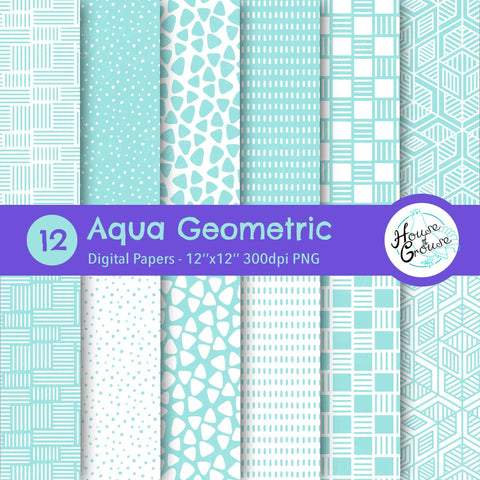 Aqua Geometric Pattern Set